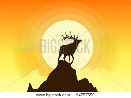 Deer Silhouette Vector Sunset. Beautiful sunset background with deer silhouettes. All in a single layer. Vector illustration.