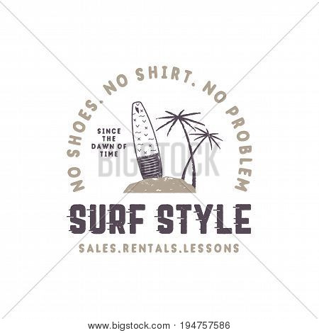 Surf style vintage label. Summer surfing style emblem with surfboard, tropical palms and typography elements. Use for t-shirts, clothing print, other brand identity. Stock vector isolated on white.