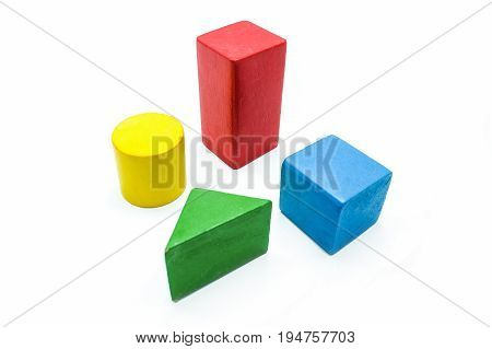 Children's Colorful Toy Blocks, Isolated On A White Background