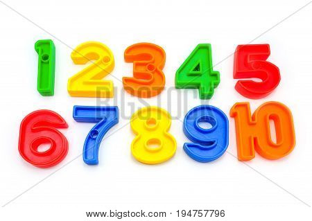 Colorful Plastic Numbers, Isolated On A White Background