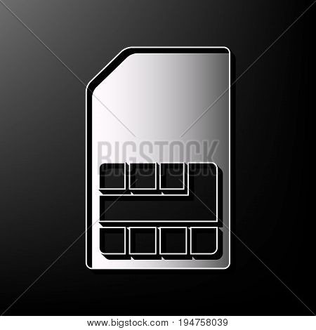 Sim card sign. Vector. Gray 3d printed icon on black background.