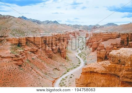 Charyn Canyon In Almaty Region Of Kazakhstan. Beautiful View Of The Canyon From The Observation. Nat