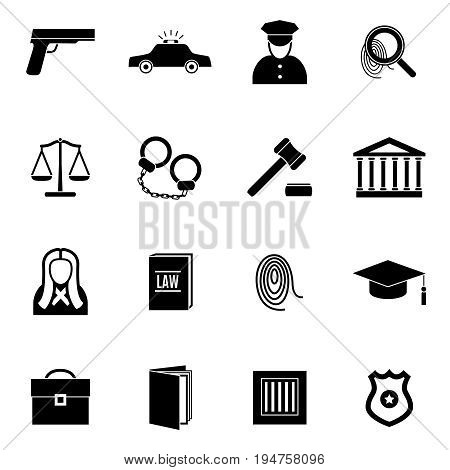 Silhouette Black Law and Justice Icon Set Symbol Crime or Legal for Web. Vector illustration