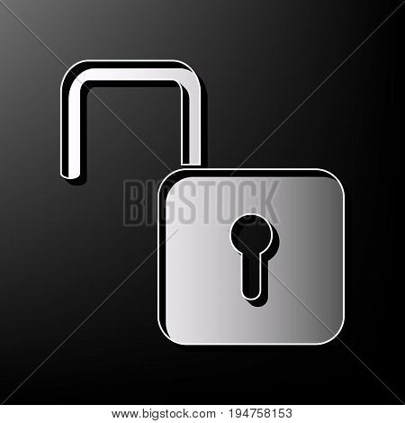 Unlock sign illustration. Vector. Gray 3d printed icon on black background.
