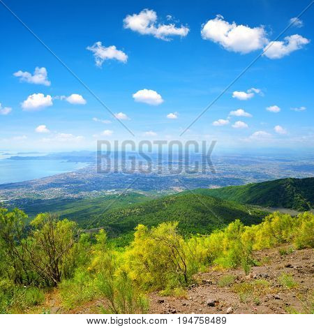 View from the top of the Vesuvius volcano on the city of Naples. Campania region,Italy.