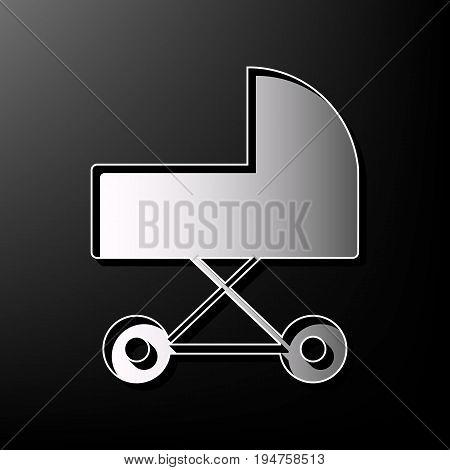 Pram sign illustration. Vector. Gray 3d printed icon on black background.