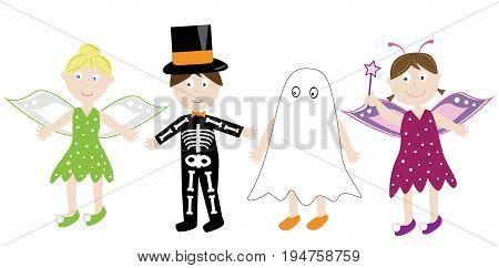 Happy Halloween Holiday Children Kids in Costumes