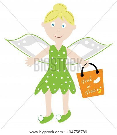 Cute Happy Halloween Fairy with Goodie Treat Bag