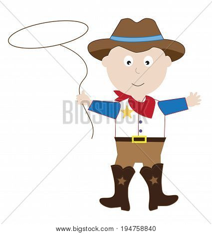 Cute Happy Halloween Cowboy with Hat and Lasso