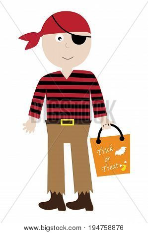 Happy Halloween Boy Pirate Costume with Goodie Bag