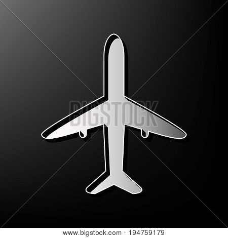 Airplane sign illustration. Vector. Gray 3d printed icon on black background.