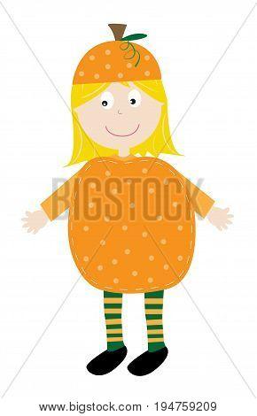 Cute Happy Halloween Pumpkin Girl Costume Smiling