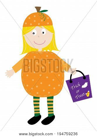 Cute Happy Halloween Pumpkin Girl with Candy Bag