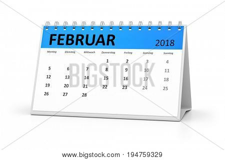 3d rendering of a german language table calendar for your events 2018 february
