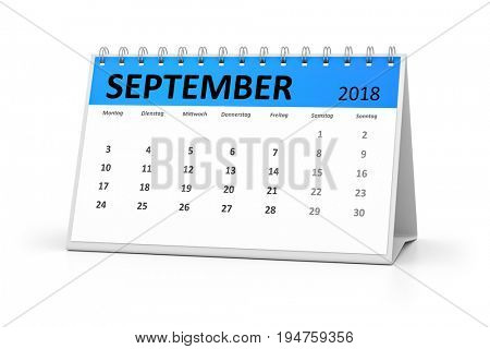 3d rendering of a german language table calendar for your events 2018 september