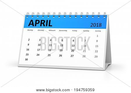 3d rendering of a german language table calendar for your events 2018 april