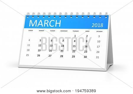 3d rendering of a table calendar for your events 2018 march