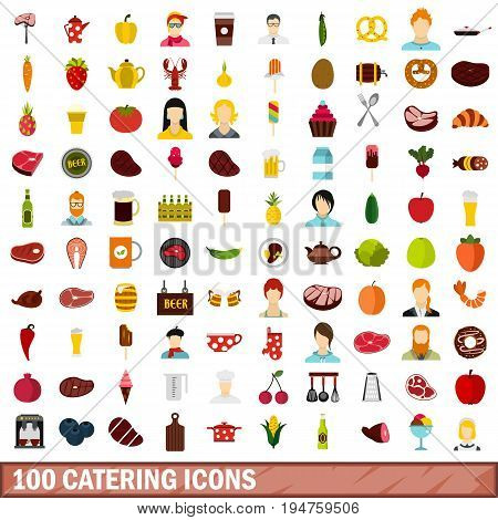 100 catering icons set in flat style for any design vector illustration