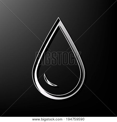 Drop of water sign. Vector. Gray 3d printed icon on black background.