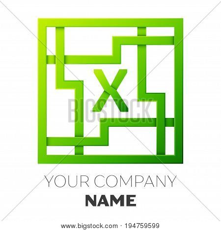 Realistic Letter X vector logo symbol in the colorful square maze on white background. Shadow Breaks. Vector template for your design