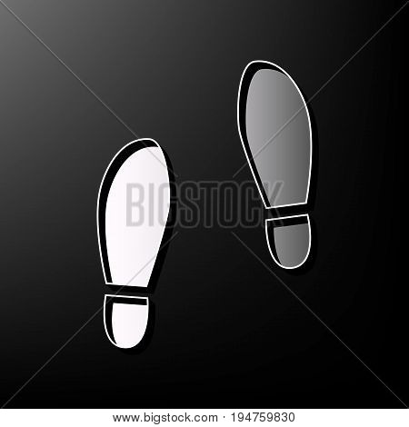 Imprint soles shoes sign. Vector. Gray 3d printed icon on black background.