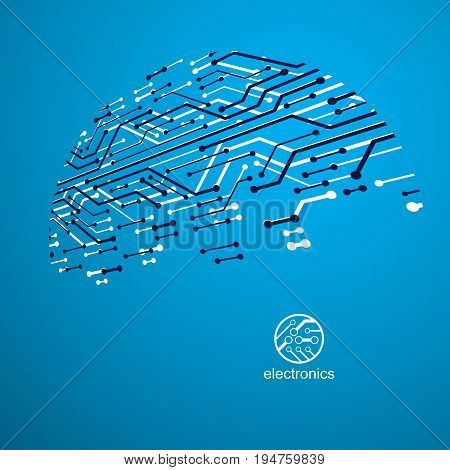 Vector circuit board with electronic components of technology device. Computer motherboard cybernetic abstraction. Electronic microprocessor