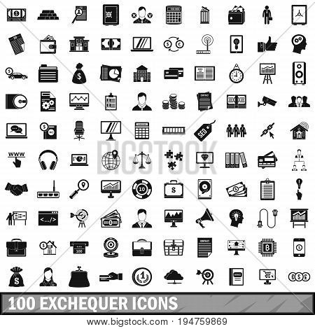 100 exchequer icons set in simple style for any design vector illustration