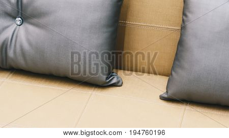 Pillow Gray Color On Bed Brown Or Beige In Bedroom