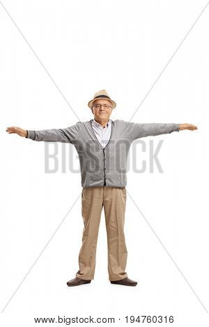 Full length portrait of a mature man with his arms spread isolated on white background