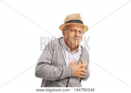 Senior having a heart attack isolated on white background