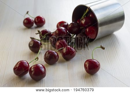 Cherries with drops of water fell from a steel mug to a light wooden surface