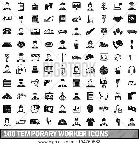 100 temporary worker icons set in simple style for any design vector illustration