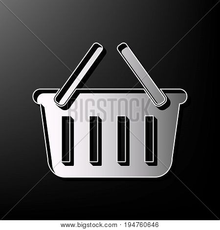 Shopping basket sign. Vector. Gray 3d printed icon on black background.