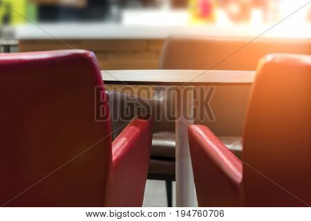 Interior Restaurant With Red Chair And Empty Table