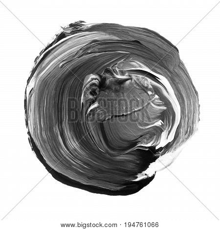 Acrylic Circle Isolated On White Background. Gray, Black Round Watercolor Shape For Text. Element Fo