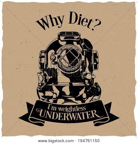 Underwater motivation label design poster with question why diet vector illustration