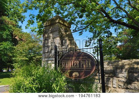 COLUMBUS, OHIO - JUNE 27, 2016:  Schiller Park is a municipal park and hub for garden tours, festivals, theater, and a rec center in German Village, just south of downtown Columbus, OH.