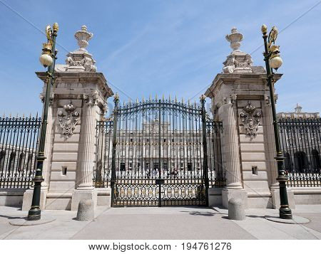 Gate of Palacio Real de Madrid or Royal Palace of Madrid in Spain.