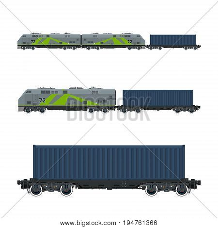 Green Locomotive with Cargo Container on Railroad Platform , Cargo Train, Railway and Container Transport, Vector Illustration