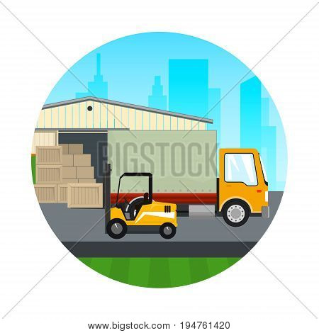 Warehouse and Transport Services , Icon Warehouse with Forklift Truck and Lorry on the Background of the City , Unloading or Loading of Goods , Vector Illustration