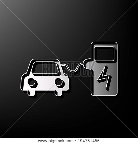 Electric car battery charging sign. Vector. Gray 3d printed icon on black background.