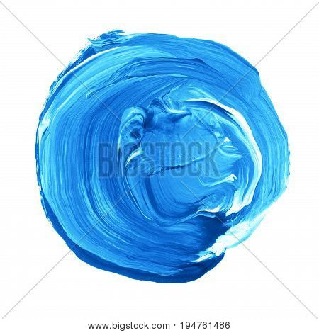 Acrylic Circle Isolated On White Background. Bright Blue Round Watercolor Shape For Text. Element Fo