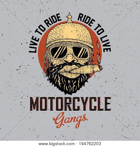 Biker Round Frame Poster with a smoking man and phrase motorcycle gangs vector illustration