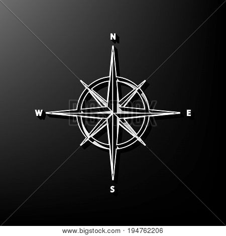 Wind rose sign. Vector. Gray 3d printed icon on black background.