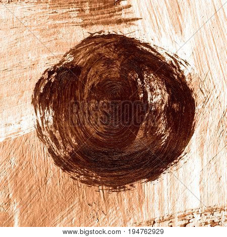 Acrylic Abstract Dark Brown Circle On Textured Beige Background.