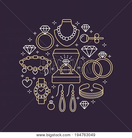 Jewelry shop, diamond accessories banner illustration. Vector line icon of jewels - gold watches, engagement rings, gem earrings, silver necklaces, charms, brilliants. Fashion store circle template.