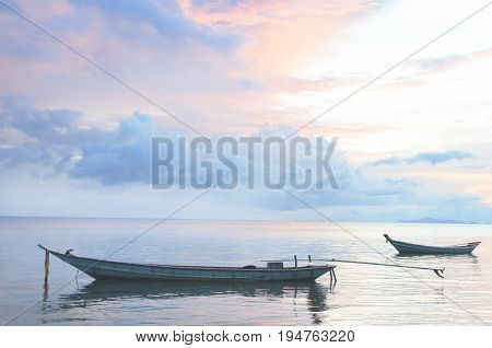 Sail Boat at sunrise beautiful color sky. Indonesia, Bali