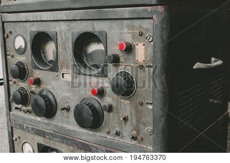 The Old Classic Rack Box Of Military Communication Radio Bandswitching Station. Military Communicati