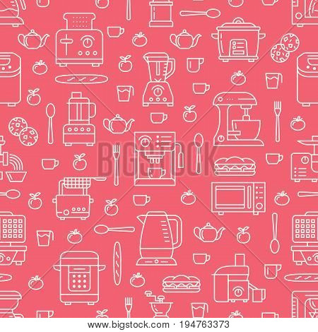 Kitchen utensil, small appliances red seamless pattern with flat line icons. Background with household cooking tools - blender, mixer, food processor, coffee machine, microwave, toaster. Electronics.