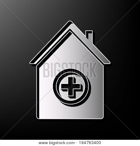 Hospital sign illustration. Vector. Gray 3d printed icon on black background.
